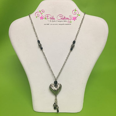 Sautoir pendentif coeur métallique