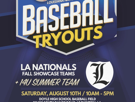 High School Showcase/ 14u Tryouts- August 10th @ Doyle HS field