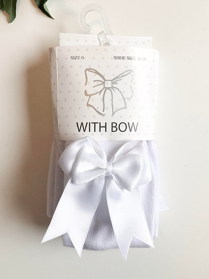 Tights/Stockings with bow, White