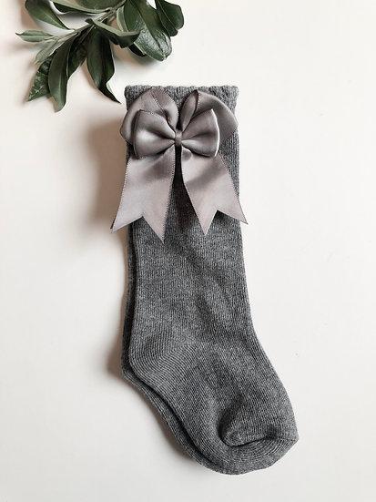 Kneesocks with bow, grey