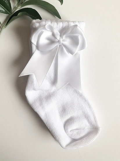 Ankle Socks with bow, White