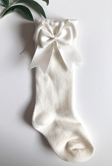 Kneesocks with bow, off-white