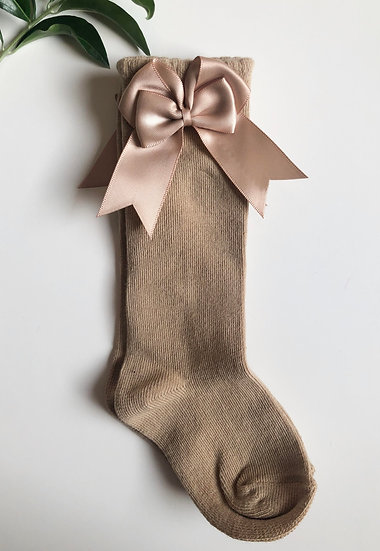 Kneesocks with bow, Camel