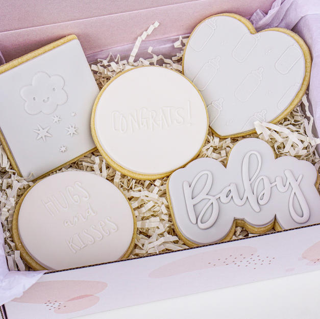 Grey Baby Cookie Box
