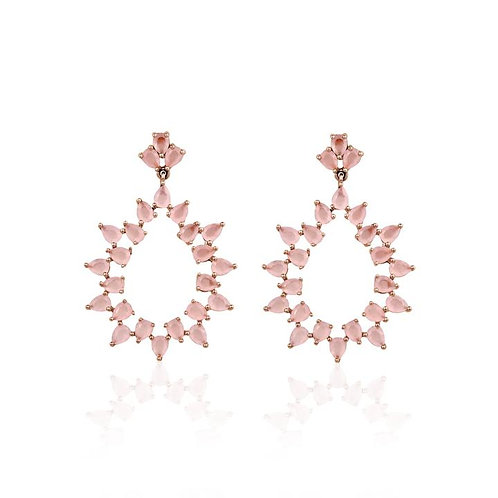 PINK OPAL hoop earring