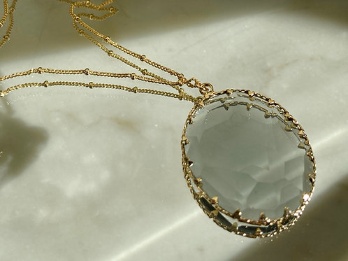 CLEAR CRYSTAL MEDALLION necklace