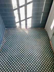 clover cement tile foyer teal and mint
