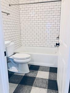 black and white bathroom gingham floor