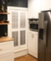 kitchen renovation white cabinets dark herringbone backsplash
