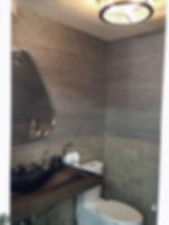 powder room grasscloth mirror tile