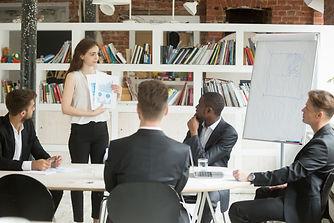 Businesswoman presenting startup design