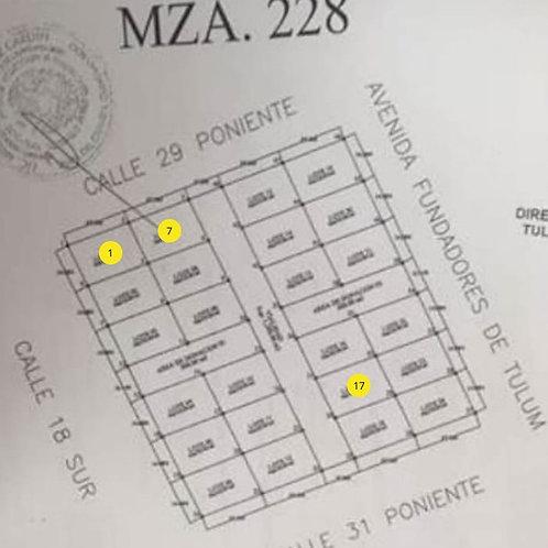 Region 15, MZN 228, Tulum. 3 lots, size 327 sqm each. Ready for development.