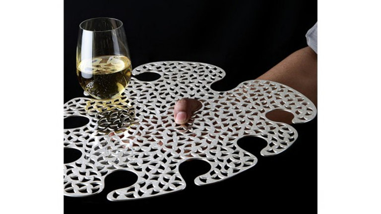 SILVER PLATED WINE SERVING TRAY