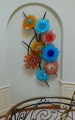 Wall-Mounted  Blown Glass Chandelier