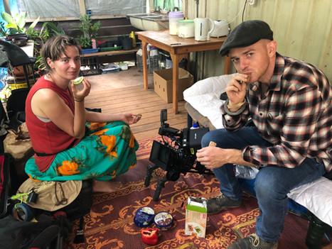 Cinematographers Zac and Maria Ines taking a break