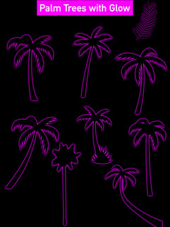 Palm Trees with Glow  - Affinity Designe