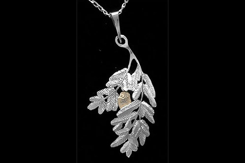 Bronze Owl on Silver Branch