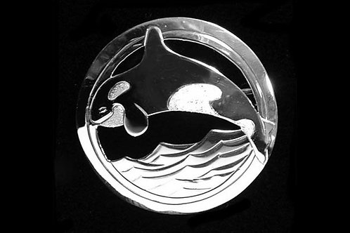 Orca in Circle Brooch