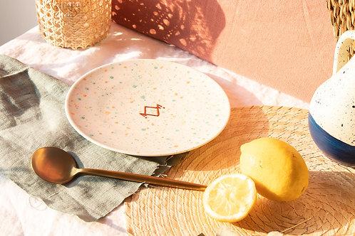 MALTA - Assiettes à dessert mouchetées vert et pêche