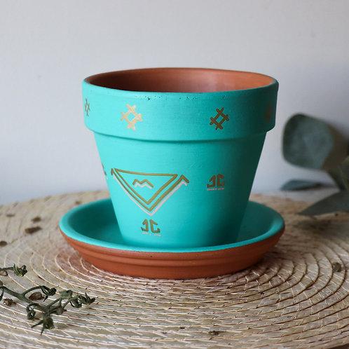 FIGARI - Pots de fleur en terre cuite turquoise
