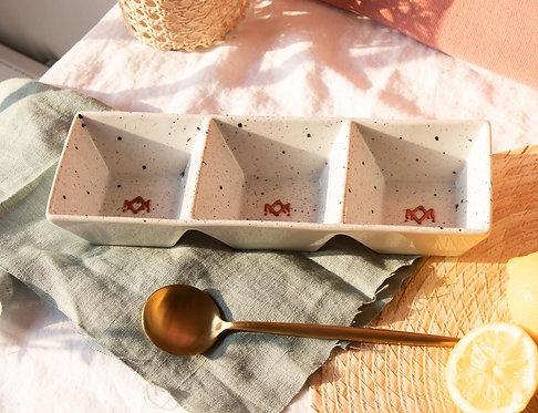 MIMOSAS - Plat apéritif en porcelaine moucheté