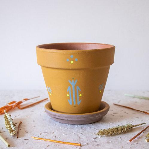 FIGARI - Pots de fleur en terre cuite moutarde