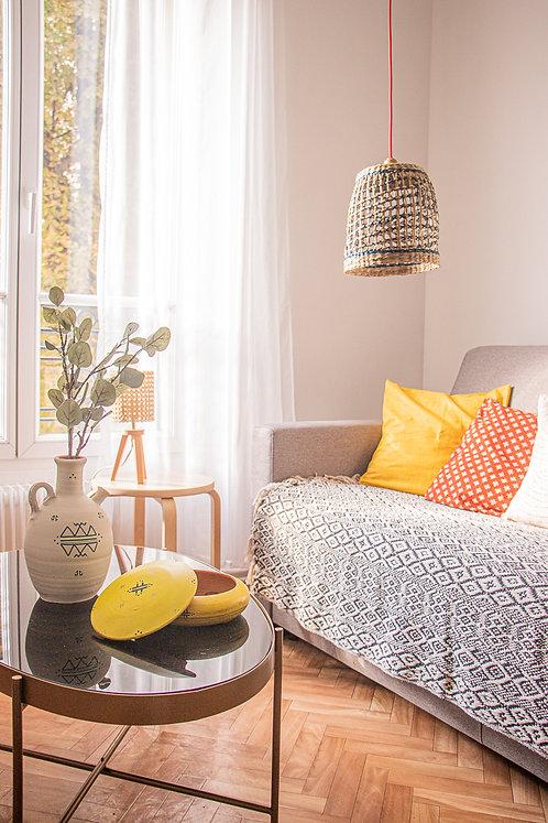 VOLUBILIS - Housse de coussin carrée jaune