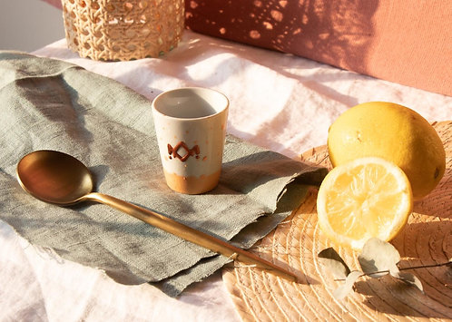 ALIKO - Petites tasses à expresso en porcelaine mouchetée pêche