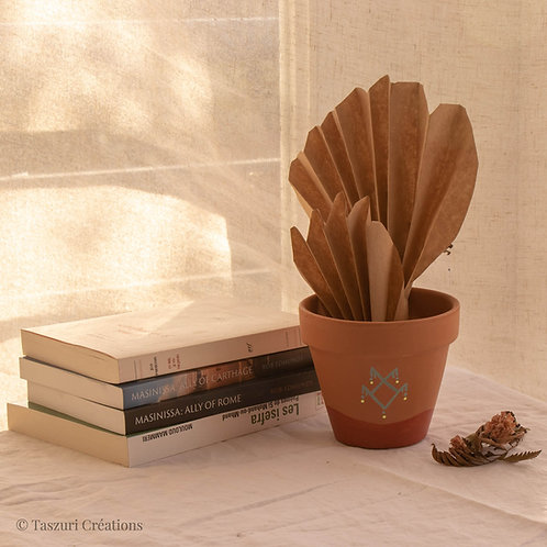 FIGARI - pot de fleur en terre cuite bicolore terracotta