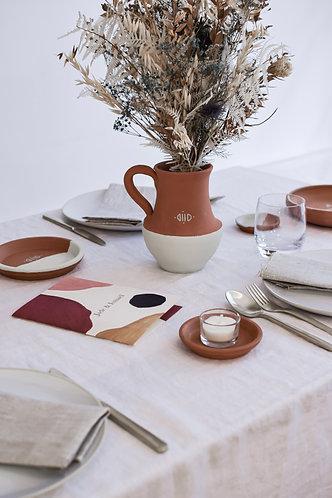 Jarre de mariage en terre cuite bicolore minimaliste