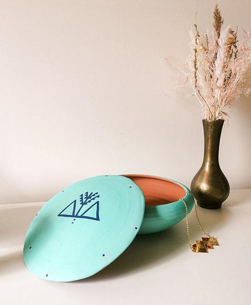 MILA- Grandes boîtes à bijoux en terre cuite turquoise