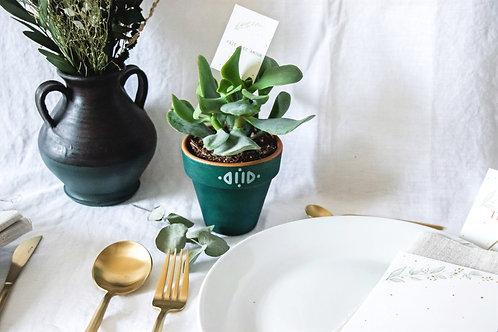 Pot en terre cuite vert champêtre - Cadeau invité mariage