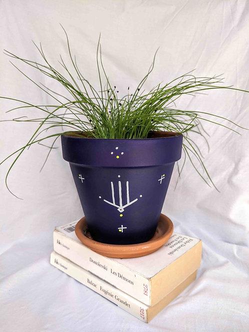 FIGARI - pot de fleur en terre cuite bleu