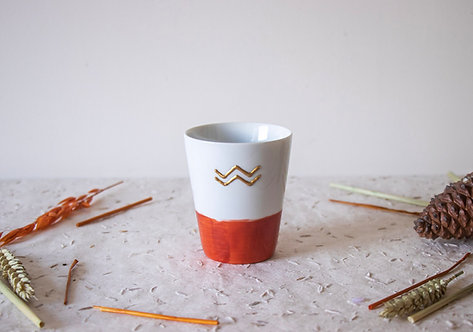 LATTE - Mug en porcelaine terracotta et blanc
