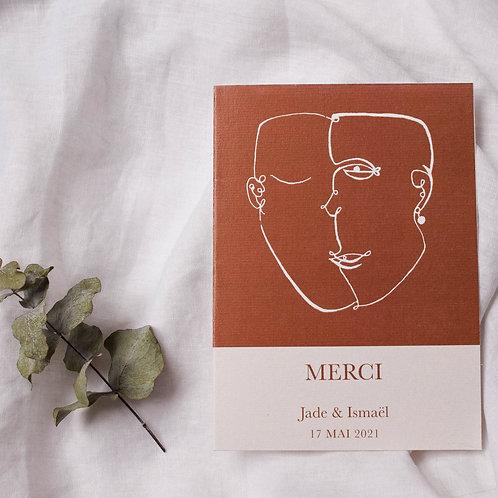 Carte de remerciement minimaliste figuratif