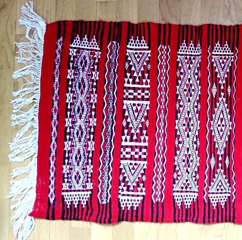 AHFIN - Tapis berbère en laine rouge tissé à la main