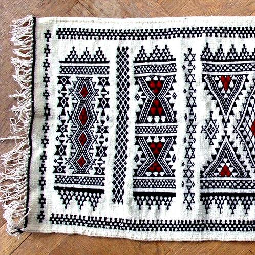 TILILIT - Tapis berbère en laine blanc tissé à la main
