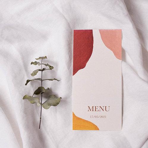 Menu de mariage minimaliste abstrait