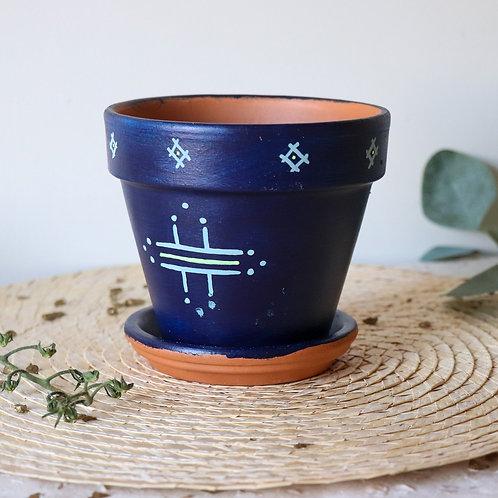 FIGARI - Pots de fleur en terre cuite bleu