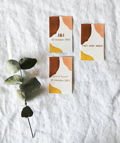 Étiquettes cadeau invité mariage minimaliste abstrait