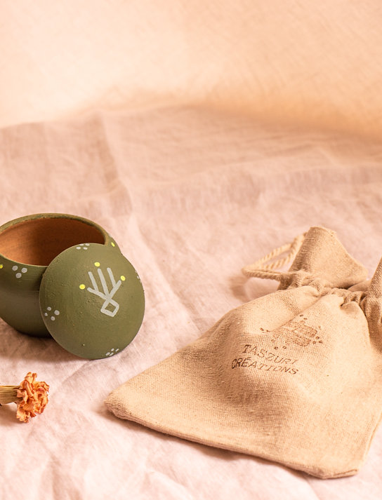 TIZA - Boîtes à bijoux en terre cuite vert olive