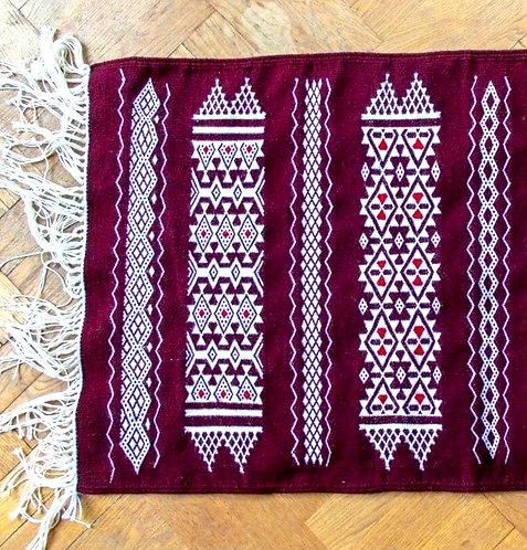 BERQIS - Tapis berbère en laine rouge tissé à la main