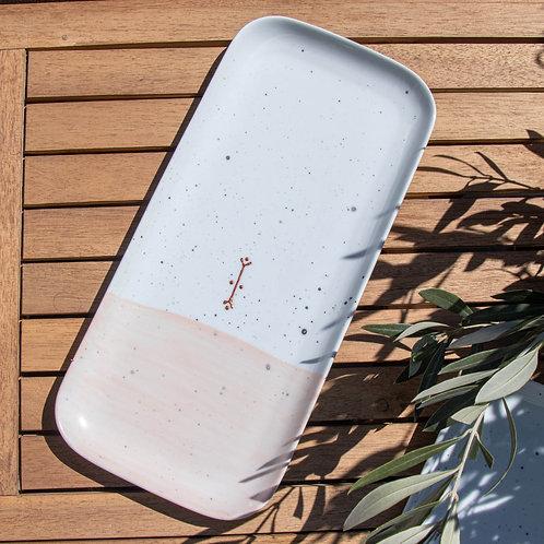 FREJUS - Plat apéritif en porcelaine argile rose