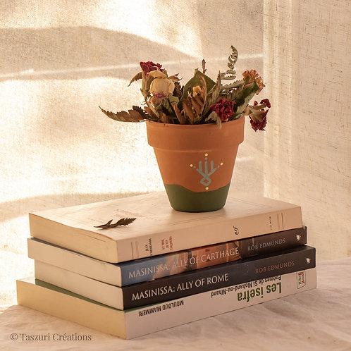 PISE - Petit pot de fleur en terre cuite bicolore vert olive