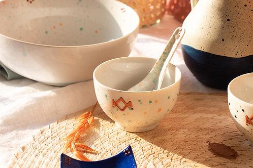 GORDES - Petits bols à thé moucheté vert et orange