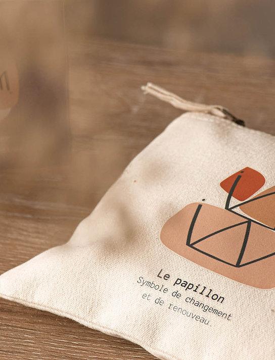 BARBACHA - Pochette en coton bio tatouage berbère