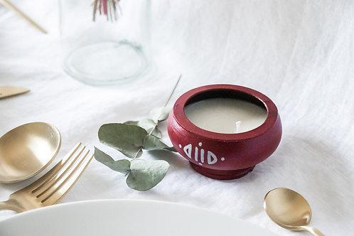 Bougie artisanale rose bohème-chic - Cadeau invité mariage