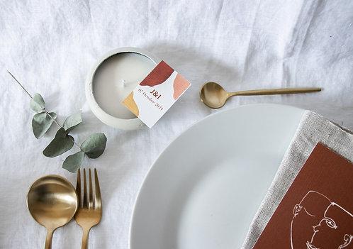 Bougie artisanale blanche minimaliste