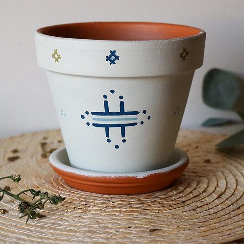 CALVI - Pot de fleur en terre cuite blanc