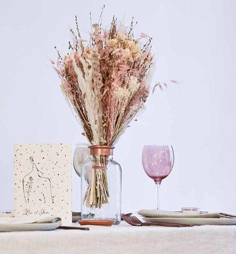 Vase de mariage en verre, liseré cuivré